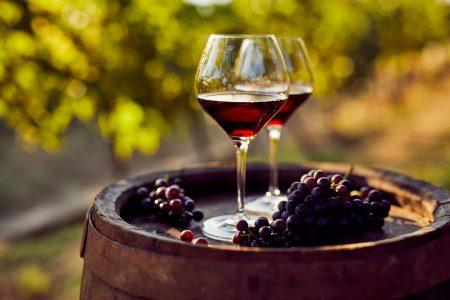 Deux verres de vin rouge dans un vignoble
