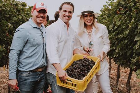 Visiteurs collectant raisin en Equateur